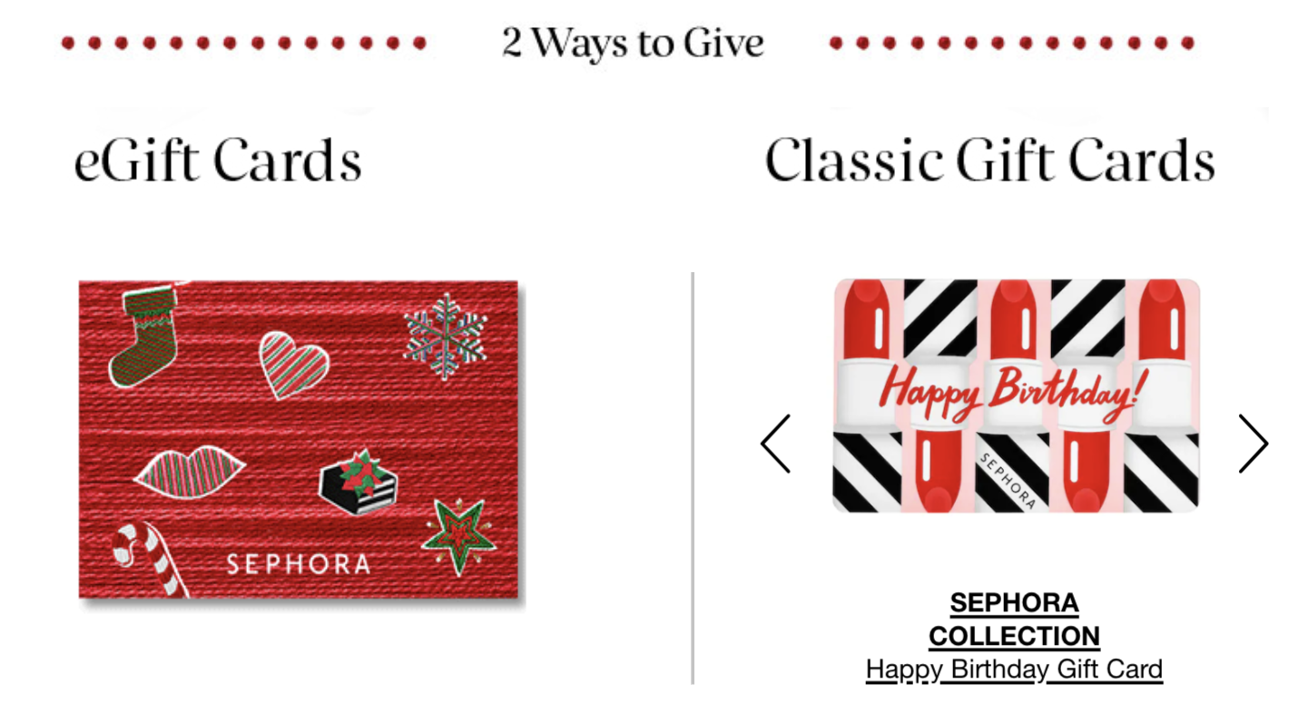 Customizeable Physical Gift Card Sephora